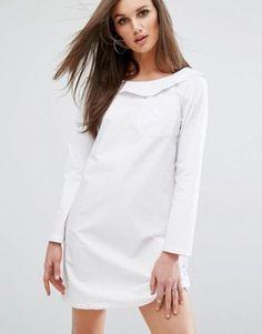 Boohoo Bardot Shirt Style Dress