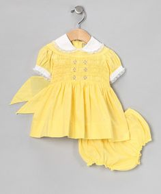 Take a look at this Yellow Takes The Cake Dress & Diaper Cover - Infant & Toddler by Blow-Out on #zulily today!
