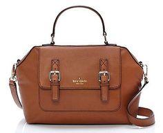 Kate Spade Raquelle Allen Street Satchel Goat Leather cognac saddle bag $398.00