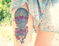 Tattoo Ballon mit Blumen und Anker