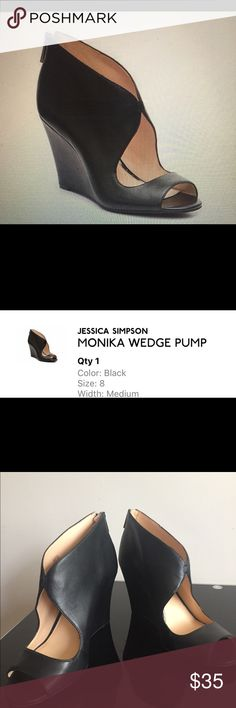 "Jessica Simpson Monika Wedge Pump These shoes are in great condition - never been worn outside of the house. 3½"" covered wedge heel Jessica Simpson Shoes Wedges"