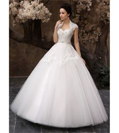 Floor-Length White Ball Gown Sequin Wedding Dress For Bride with Keyhole Neck $279.99