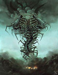 Disintegrator by Sandeep Karunakaran : ImaginaryLeviathans Monster Concept Art, Fantasy Monster, Monster Art, Dark Creatures, Fantasy Creatures, Mythical Creatures, Creature Concept Art, Creature Design, Arte Horror