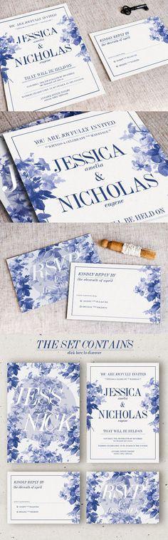 China Blue Wedding Invitation. Invitation Templates. $10.00