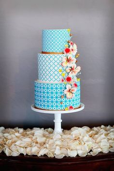 Intricate patterns in sea blue with cascading flowers and touches of metallic. Source: pinterest #weddingcake #seablue #metallic