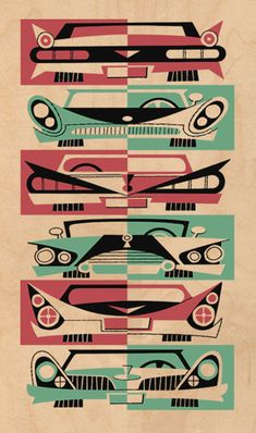 DEREK YANIGER Fins and Grills Artwork for sale at La Fiambrera Art Gallery. Mid Century Modern Art, Mid Century Art, Mid Century Design, Retro Kunst, Retro Art, Retro Vintage, Vintage Cars, Illustration Arte, Retro Illustrations