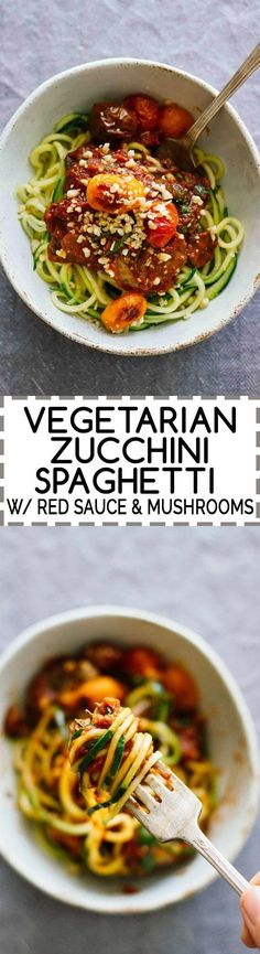 Vegetarian Zucchini Spaghetti w/ Red @Ragu Sauce & Mushrooms! Head over to JarOfLemons.com for the easy recipe or click through to learn more about the delicious sauce!