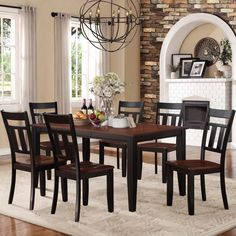 Eli Rustic Black Cherry 7-piece Mission Extending Dining Set | Overstock.com Shopping - The Best Deals on Dining Sets