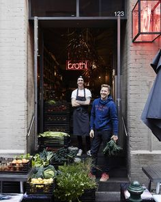 Joost Bakker and head chef Ryan Bussey and their new restaurant, Brothl, in Melbourne's CBD. Photo – Sean Fennessy for The Design Files. -★-