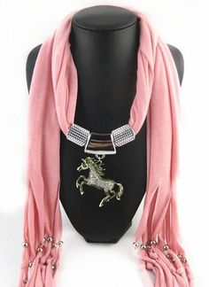 Horse Pendant Necklace Scarf