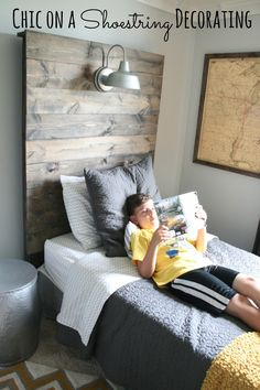 all for the boys - tween boy room - diy pallet headboard with two