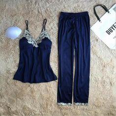 Brand women s sleeveless satin deep V-neck long pants two pieces faux silk  pajamas sets 05aa05103