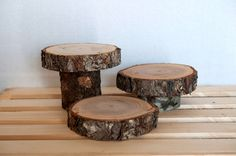 "Gorgeous 4""-6"" wood Slices, 3 tier rustic wood centerpiece, Large Wood Slice, Wood Slab, Rustic Wedding Decor by Elevatedpartysupply on Etsy"