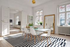 Thanks for visiting our Scandinavian dining rooms photo gallery where you can search lots of dining room design ideas. This is our main Scandinavian dining room design gallery where you can browse … Striped Room, Esstisch Design, Scandinavian Interior, Scandinavian Style, Swedish Style, Swedish Design, Nordic Design, Home Design, Design Design