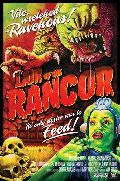 Here's a great piece of B-movie style vintage poster art for a fake Star Wars-inspired horror film called Lair of the Rancor, which looks like it'd be a great movie! The poster was created by Mark Daniels and Mark Steel.