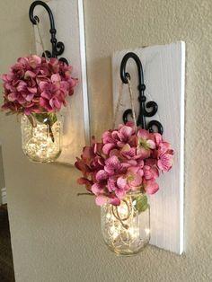 Mason Jar Lanterns, Mason Jars, Diy Arts And Crafts, Hobbies And Crafts, Diy Home Decor, Room Decor, Mason Jar Wall Sconce, Rustic Home Design, Rustic Wall Decor