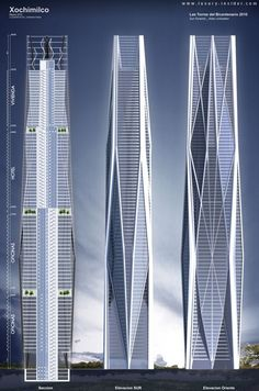 Epic architecture and development projects around the globe // Tezocomoc Tower (Serpiente Emplumada Tower), Mexico City by Vasquez and Wedeles Architects :: proposal, one of the Bicentenary Towers Tower Building, Building Facade, Building Structure, Building Design, Interesting Buildings, Amazing Buildings, Modern Buildings, Futuristic Architecture, Contemporary Architecture