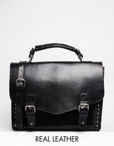Park Lane @ ASOS Studded Flap top Real Leather Shoulder Satchel Bag rrp £95