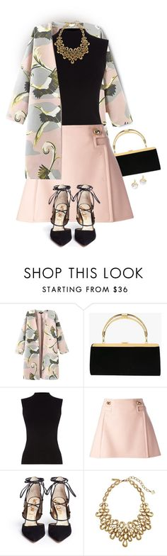 """Lace-up Pumps & Egret coat"" by shanasark on Polyvore featuring Balmain, Oasis, Frankie Morello, Sam Edelman, Oscar de la Renta, Alexis Bittar, women's clothing, women, female and woman"