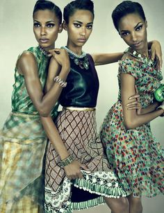 Anais Mali, Jasmine Tookes, Jourdan Dunn by Emma Summerton for W Magazine March 2012