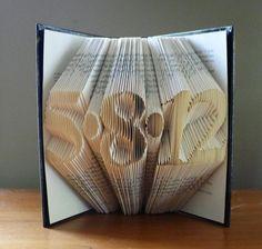 Anniversary Gift for Men - Wedding Date -  Folded Book Art - 1st Wedding Anniverary - Birthday - Paper Anniversary - 4 Digits - Date