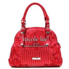 Nicole Lee. Bowler bag with woven diamond design. Stitched floral embellishments. Luv this color!!! luv.