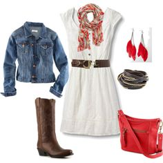 denim jacket over white belted dress with cowgirl boots