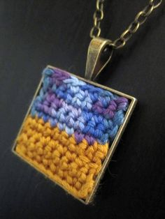 Items similar to Crocheted pendant on chain in gold and blue - Vincent Van Gogh: Wheatfield with Crows on Etsy Crochet Jewellery, Crochet Necklace, Crochet Things, Crows, Vincent Van Gogh, Fabric Painting, Jewelry Necklaces, Pendants, Community