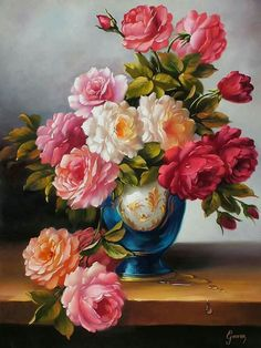 Flowers art painting oil vase 49 ideas for 2019 Art Floral, Beautiful Flower Arrangements, Beautiful Flowers, Flower Vases, Flower Art, Retro Crafts, Cross Paintings, Beautiful Paintings, Vintage Flowers