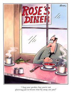 """""""The Far Side"""" by Gary Larson. Cartoon Jokes, Funny Cartoons, Funny Comics, Far Side Cartoons, Far Side Comics, Haha Funny, Hilarious, Funny Stuff, Crazy Funny"""