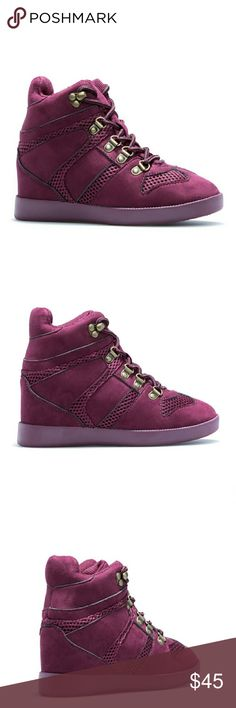 """Norma Fancy High Top's Made of faux-suede Outside wedge height is 2"""" Platform height 0.75 Has adjustable front laces. Color called Bordeaux. Very nice shoes Shoedazzle  Shoes Sneakers"""