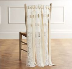 Hessian, lace and ribbon chair back ribbons for rustic country weddings by Just Add A Dress