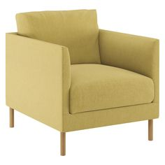 HYDE Yellow fabric armchair, wooden legs