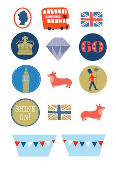 CupCakes Cookies Cakes: Diamond Jubilee printable cupcake toppers and wrappers