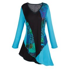 Asymmetrical Tunic Top with 3/4 Sleeves in Dots & Flowers at Catalog Classics | LC6842