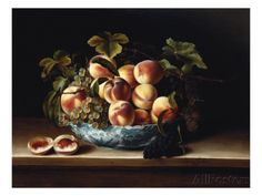 Peaches and Grapes in a Blue and White Chinese Porcelain Bowl Fruit Still Life, 1634 Stampe di Louise Moillon su AllPosters.it