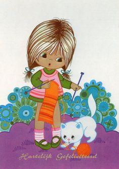 Vintage Postcard Seventies girl is knitting