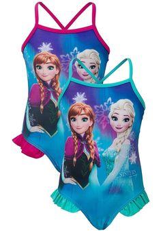 Girls Disney Turquoise Frozen Swimsuit.