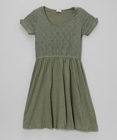 Take a look at the Splendid Camo Green Lace Dress - Girls on #zulily today!