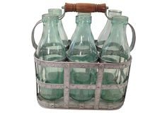 "European Milk Bottles and Carrier Eastern Europe 12""L x 8""W x 13""H ($265.00)  $155.00 One Kings Lane"