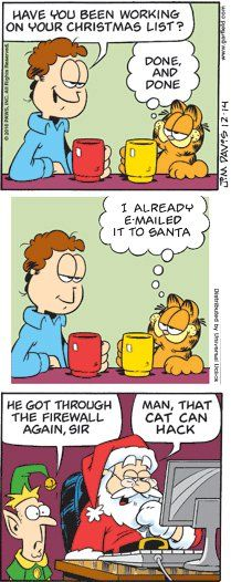 Garfield strip, that cat can hack; 2010/12/14