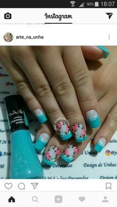 Mani Pedi, Nail Manicure, Pedicure, Nail Polish, Cute Nails, Pretty Nails, Hair And Nails, My Nails, Teal Nail Designs