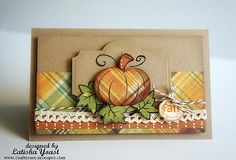 handmade greeting card ... Autumn colors ... kraft base ... plaid papers ... paper-pieced pumpkin on a die cut label ... Stampin' Up!