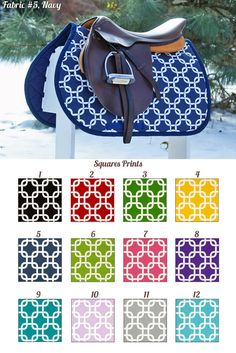 MADE TO ORDER Squares Saddle Pad Many Colors by PaddedPonies