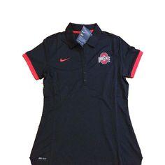 Nike Ohio State Buckeyes Red Women's Medium Polo Black Sideline Exclusive NCAA #Nike #OhioStateBuckeyes