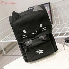 High Quality Popular Fashion Cute Cat Canvas Cartoon Backpacks Girls School  Bag Casual Printing Rucksack Dropship b4453884ac
