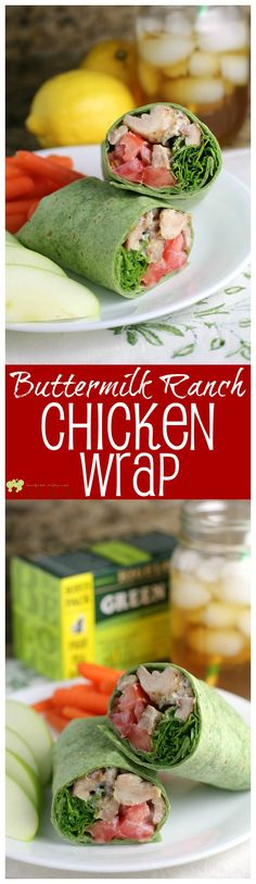 Buttermilk Ranch Chicken Wrap {HEALTHY WEEK LUNCH SERIES} served with healthy green tea! from EricasRecipes.com #ad #AmericasTea