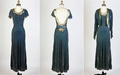 1930s 30s Antique Vintage  Blue Gray Crushed by RedHouseVintages, $345.00