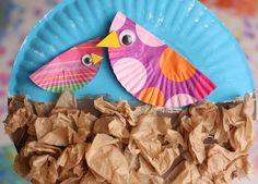 Paper plate & cupcake liner birds in the nest craft
