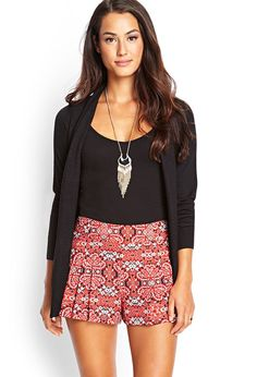 Abstract Print Pleated Shorts